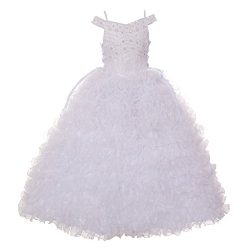Rain Kids Little Girls White Beads Ruffle Organza Communion Dress 6 by The Rain Kids