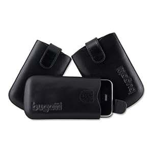 Funda de cuero, leather case, Carcasa SlimCase bugatti para Nokia 6220 classic, negro (black)