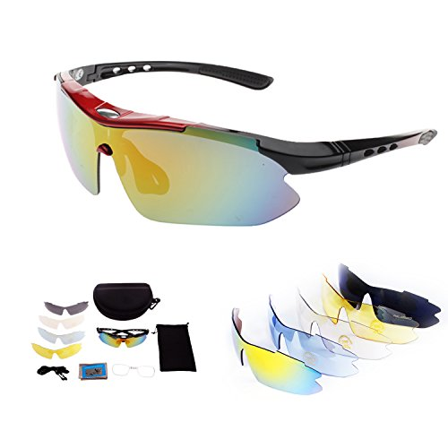 Polarized Sports Sunglasses for Men Women Cycling Running Driving Fishing Golf Baseball with Tr90 Unbreakable Frame,5 Interchangeable Lenses … (Red - Get Made For Frames Lenses
