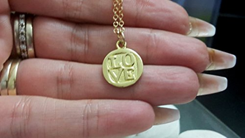 Love necklace,charm necklace,gold necklace, tiny necklace, simple jewelry, wedding gift,coin pendant,ahava necklace