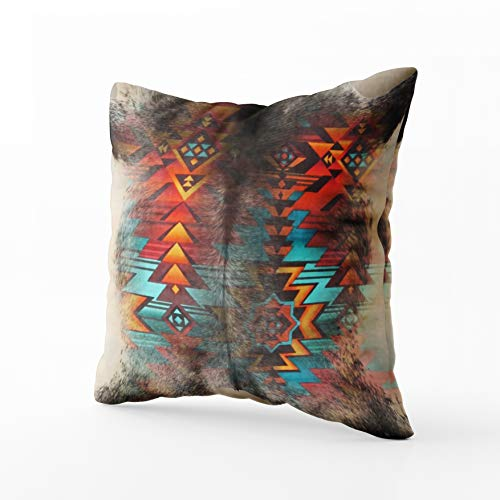 Musesh distressed cowhide and western print design Cushions Case Throw Pillow Cover For Sofa Home Decorative Pillowslip Gift Ideas Household Pillowcase Zippered Pillow Covers 20X20Inch