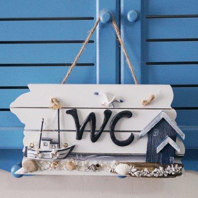 ZWZCYZ 21,84 cm madera tornillos para fijación a placa para puerta con texto baño casa de playa decorativa de pared con forma de faro con texto en inglés: ...