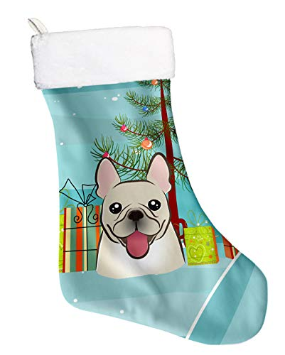 Caroline's Treasures Tree and French Bulldog Christmas, Holiday Stocking, Decoration, 11 x 18, Multicolor