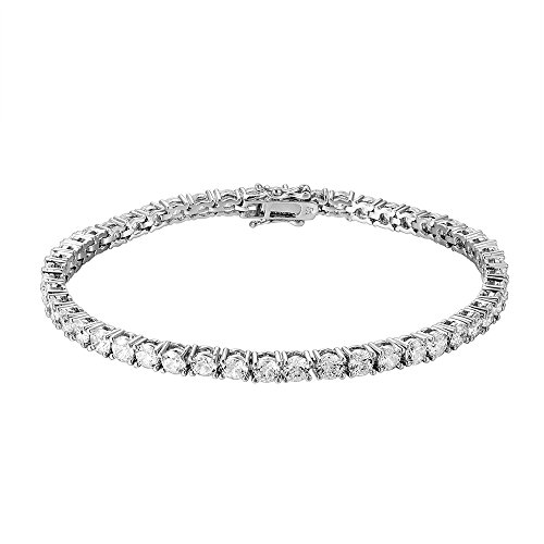 OMEGA JEWELLERY 10K White Gold Round Cut Cubic Zirconia 1 Row Tennis Bracelet (7.5 inches) for Women (5.00 Ct)