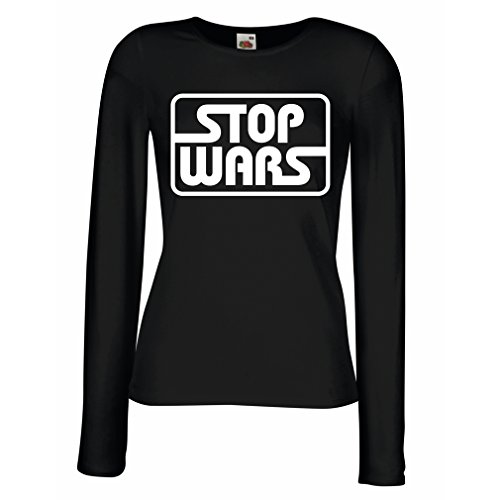 lepni.me T Shirt Women Political - Stop Wars - Peace Quotes, Anti war Slogans (X-Large Black White) -