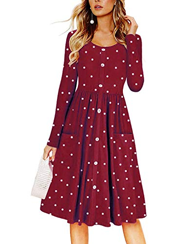 (Omerker Women's Long Sleeve Button Down Polka Dot Dress with Pocket Casual Swing Midi Dress(Medium,Wine)