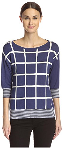 Cullen Women's Grid Pattern Sweater, Navy Combo, L Cullen Cotton Sweater