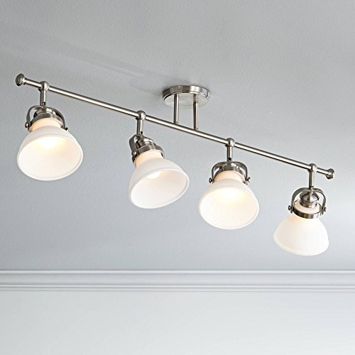 Luca 4-Light Satin Nickel Opal White Shades Track Fixture - Pro - Shade Lamp White Luca