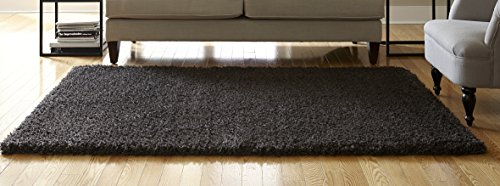 SPACES Home & Beyond Teddy Shag Indoor Accent Area Rug, 2.5 x 3.84 Feet, Solid Charcoal Accents Teddy