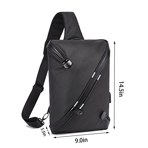 Becky Sling Chest Shoulder Backpack,Travel Fashion Crossbody Bag Multipurpose Casual Daypacks for Men&Women,Hiking Triangle Rucksack with USB Charging Port-Black by BECKY (Image #1)