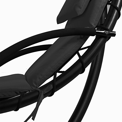 MR Direct NEW Hanging Chaise Lounger Chair Arc Stand Air Porch Swing Hammock Chair Canopy (Black)