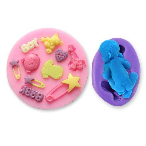 2er Baby Kinder Geburt Form Silikonform Ausstechformen Ausstecher Tortendeko Marzipan Fondant Seife Form