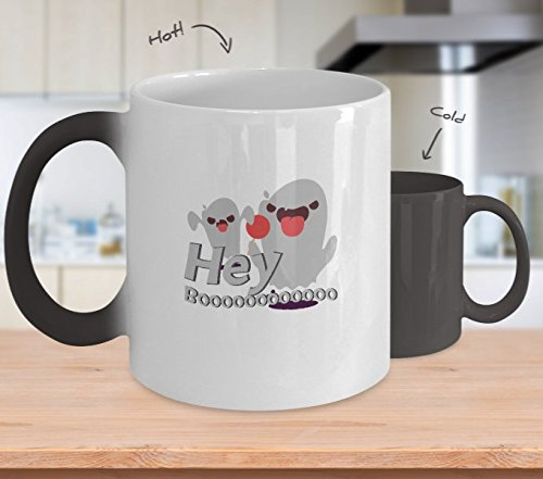Color Changing Mug Hey Boo Funny Halloween Gif Heat Colour Change Mug Gift -