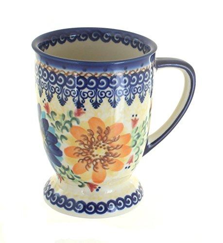 (Blue Rose Polish Pottery Autumn Burst Pedestal Coffee Mug)