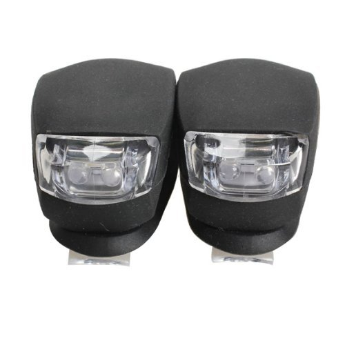 Pack of 2 LED Bicycle Light Head Front Rear Wheel Safety Bike Light Lamp Black