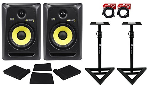 (2) KRK RP8-G3 Rokit Powered 8'' Powered Studio Monitors+Stands+MOPAD+4 Cables by KRK