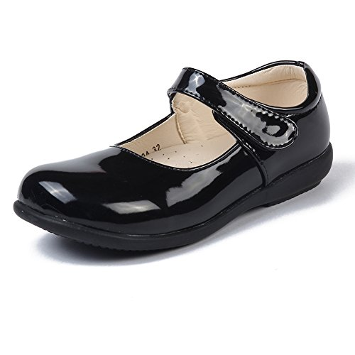 MK MATT KEELY Girls' Leisure Flat School Uniform Leather Shoes Mary Jane Princess Shoes Black .5 M US Big Kid