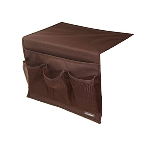 BlanceEG Bedside Storage Organizer, Caddy Hanging Storage Bag with 4 Pockets for Remote Control, Magazines (Brown) (Bed Holder)