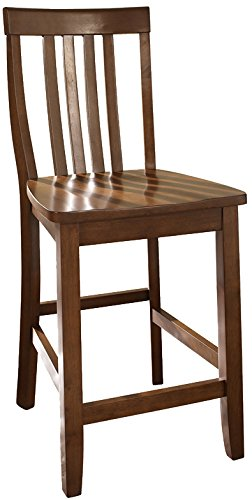 Medium Cherry Seat - Crosley Furniture CF500324-CH Schoolhouse Bar Stool (Set of 2), 24-inch, Classic Cherry