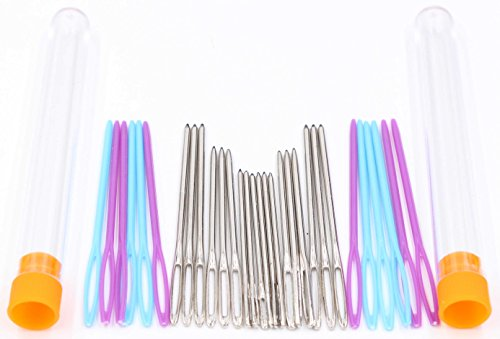 Tapestry Thread - Large Eye Blunt Needles - LeBeila Steel Yarn Thread Knitting Needle, Large-eye Sewing Needles For Crochet Darning Beading Quilting Weaving Tapestry Crafts-18pcs Metal+12pcs Plastic (2PK, Siliver)