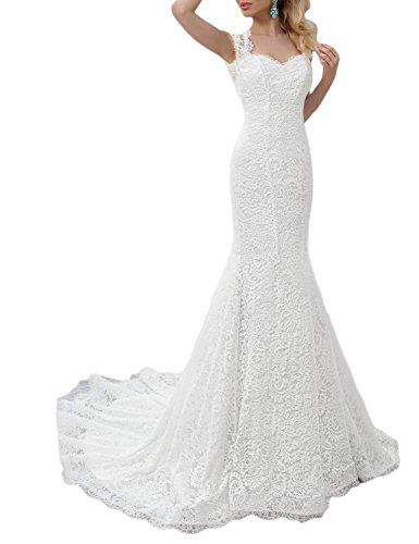 OYISHA 2019 Lace Mermaid Wedding Dress Open Back Lace up Bridal Gown WD166S White 12