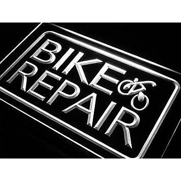 Reparatur von LSJw Fahrrad und andere Zeichen Neon, Kontrolle ...