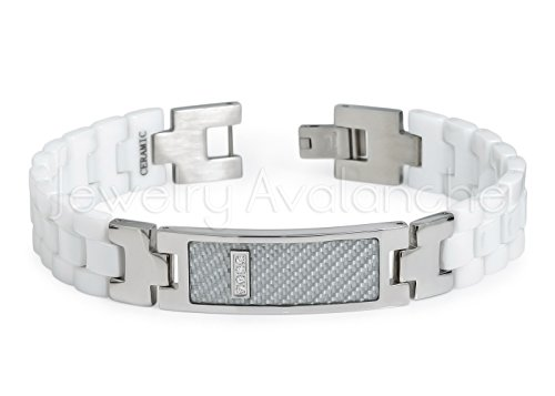 8.75'' Men's Bracelet White Ceramic and 316L Stainless Steel ID Bracelet with 4 Clear CZ over White Carbon Fiber Inlay CCB377 by JA Titanium Bracelets