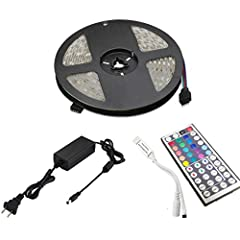 LED Strip Lights with Remote 5M 5050 RGB Flexible Color Changing Full Kit with 12V 2A Power Supply for Home & Kitchen and Indoor Application:used for home decoration(Such as kitchen, under cabinet, bedroom, patio, TV Backlighting, automob...