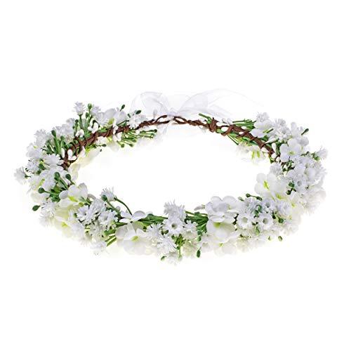 Eralove Wedding Flower Crown Boho Bridal Flower Headband Wreath Babies Breath Hair Headpiece (White-2)
