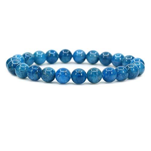 Amandastone Natural Blue Green Apatite 8mm Round Beads Stretch Bracelet 7