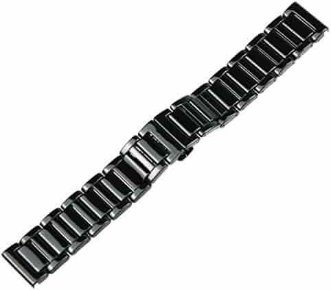 RECHERE 22mm Ceramic Bracelet Watch Band Strap Deployment Clasp Color Black