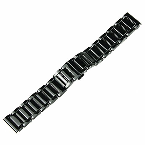 RECHERE 22mm Ceramic Bracelet Watch Band Strap Deployment Clasp Color Black (Ceramic Watch Band)