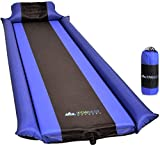 IFORREST Sleeping Pad with Armrest & Pillow - Ultra Comfortable Self-Inflating Foam Air Mattress - is Ideal for Travel, Camping & Hiking, Backpacking, Cot, Hammock, Tent & Sleeping Bag! (Blue)
