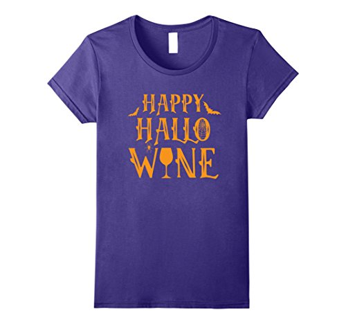 Simple Costumes For College Students (Womens Happy Hallo Wine Funny Adult Halloween Costume T-Shirt Medium Purple)