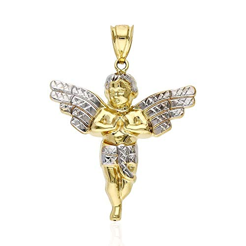 10K Yellow Gold Religious Angel Charm Pendant
