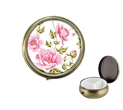 (Lovefive Elegant peony Custom Fashion Bronze Big Round Pill Box Drug Organizer Pocket or Wallet Organizer Case)