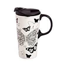 Cypress Home Butterfly Kisses Coloring Book Ceramic Travel Coffee Mug, 17 ounces by Cypress