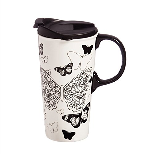Cypress Home Butterfly Kisses Coloring Book Ceramic Travel Coffee Mug, 17 ounces