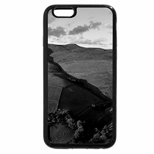 iPhone 6S Case, iPhone 6 Case (Black & White) - green fields on a hill
