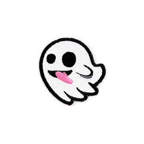 Winks For Days Flying Ghost with Stuck-Out Tongue Embroidered Iron-On Patch]()