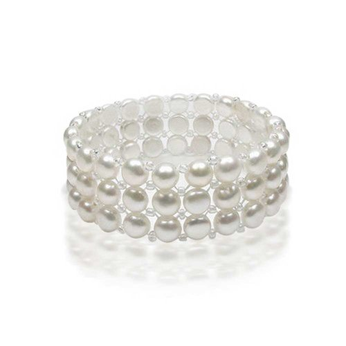 - Wide White Flat Button Freshwater Cultured Pearl Triple Strand Stretch Bracelet For Women For Teen