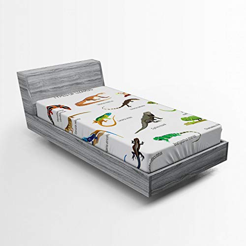Ambesonne Reptile Fitted Sheet, Lizard Family Design on Plain Background Primitive Camouflage Exotic Creatures, Soft Decorative Fabric Bedding All-Round Elastic Pocket, Twin Size, Brown