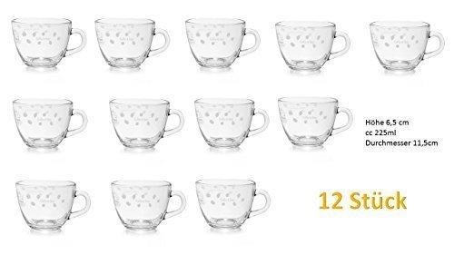 12 Teegläser Glasbecher Glühweingläser Grogweingläser mit Henkel, Höhe 6,5 cm cc 225ml Durchmesser 11,5cm