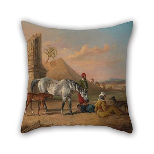 Oil Painting George Henry Laporte - Grey Arabian Mare And Foal, With A Family Throw Pillow Case 18 X 18 Inches / 45 By 45 Cm For Bedroom Dance Room Monther Kitchen Couch Seat With Double Sides by Loveloveu