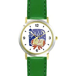 Holy Koran or Quaran Moslem or Muslim Theme - WATCHBUDDY DELUXE TWO-TONE THEME WATCH - Arabic Numbers - Green Leather Strap-Children's Size-Small ( Boy's Size & Girl's Size )