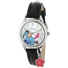 Disney Women's WTP053 Eeyore Black Leather Strap with Flower Charm Watch