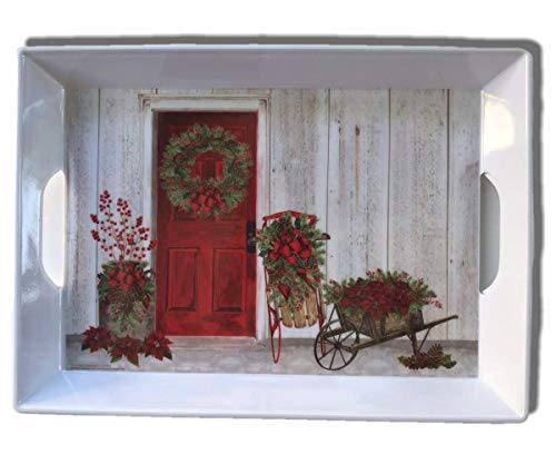 """Christmas Melamine Serving Tray With Handles 15.3 x 11.5"""" (Christmas Red Door)"""