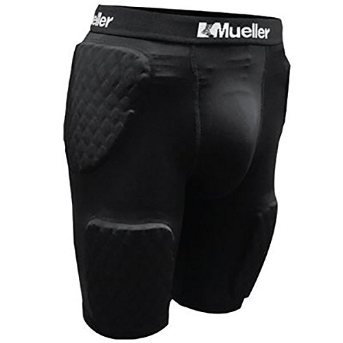 Mueller Diamond Pad 5-Piece Shorts, Adult, Black by Mueller