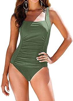 HDE Women's Plus Size Bathing Suit Underwire Bra Halter Top One Piece Pin Up Monokini Swimsuit