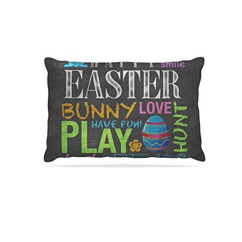 Kess InHouse Snap Studio Happy Easter Text  Typography Fleece Dog Bed, 50 by 60 , Pastels
